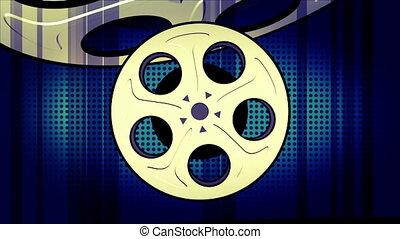 films, une, faire boucle, version, retro, fond, animé, ...