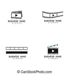 filmstrip, テンプレート, セット, イラスト, ベクトル, ロゴ