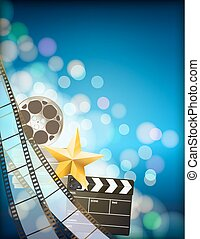 filmstrip background with clapper, reel, golden star and light effects on blue vertical background. vector