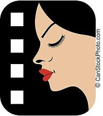 filmstrip, com, vista lateral, de, um, mulher