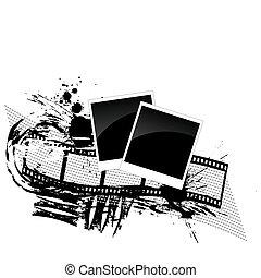 filmstrip, estilo, -, grunge, fotos