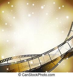 filmstrip, estrelas, retro, fundo