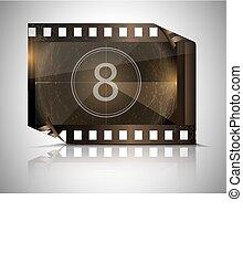 filmstrip, fondo, grigio