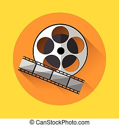 Filmstrip Icon Film Industry Concept Flat Vector...
