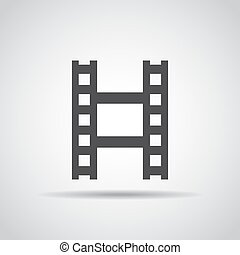 Filmstrip icon with shadow on a gray background. Vector illustration