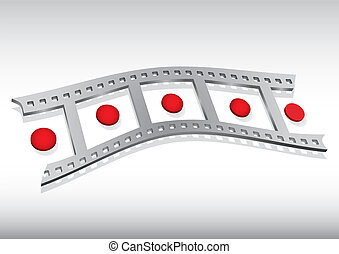 Filmstrip illustration with red circle and background