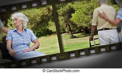 filmstrip, közül, öregedő összekapcsol, alatt, egy, apa