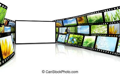 filmstrip, mit, leer, fernsehapparat