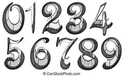 filmstrip, numeri, font., pacco