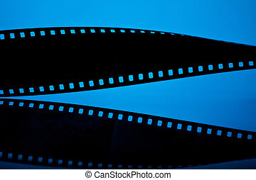 Filmstrip on blue background