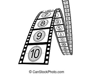 Filmstrip on white background