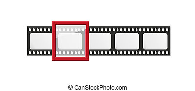 filmstrip with five frames and one selected frame on white...