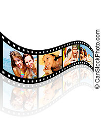 filmstrip with pictures of smiling holiday people having vacation over white background
