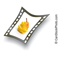Filmstrip with sliced pear