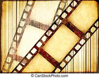 filmstrips, レトロ, グランジ, ペーパー, 手ざわり, 背景