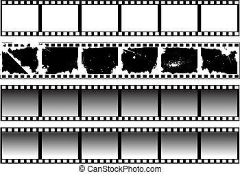 filmstrips, biało-czarny, komplet