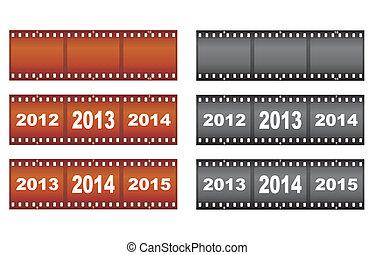 filmstrips, conjunto, año nuevo