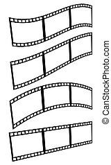 Filmstrips, film frames with different distortions (arcing, waving) isolated on white.