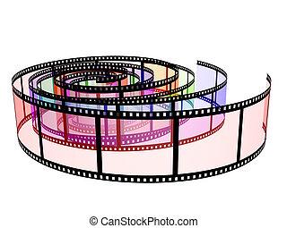 filmstrips, tres, coloreado