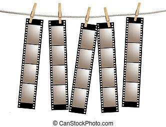 filmstrips, viejo, negativo, película