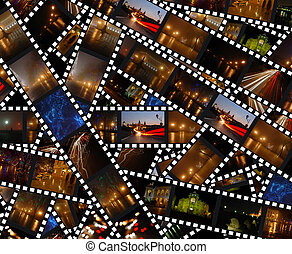 Filmstrips with night city landscapes - background