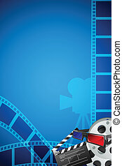 Filmy Poster - easy to edit vector illustration of filmstrip...