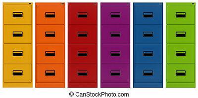 filning, färgrik, kabinett