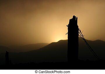 filo spinato, tramonto
