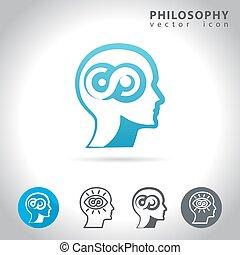 filosofia, jogo, ícone