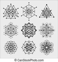 filosofie, heilig, elements., meetkunde, religie, symbolen, vector, ontwerp, spiritualiteit, hipster, alchimie