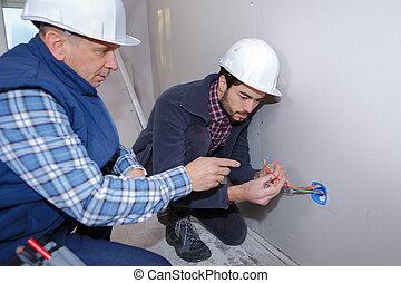 fils, électricien, inspection