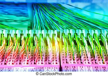 fils, électrique, coloré, câble, vue