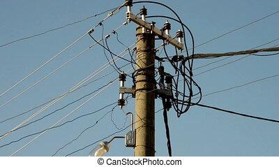 fils, électrique, &, pilier, béton, lampe