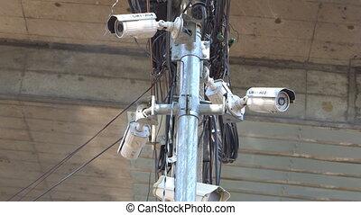 fils, appareil photo, cctv, chaos, bangkok, rue, chaque, sécurité, câbles