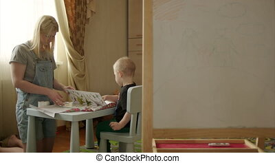 fils, concept, salle jeux, famille, mère