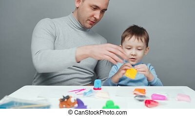 fils, confection, animaux, gris, père, métrage, fond, plasticine