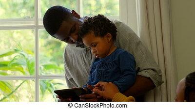 fils, confortable, fenêtre, 4k, numérique, père, noir, vue,...
