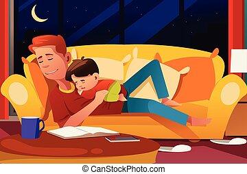 fils, dormir, père, divan