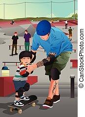 fils, enseignement, sien, père, skateboarding