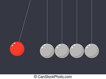 fils, frapper, pendre, pendule, rouges, sphère, groupe,...