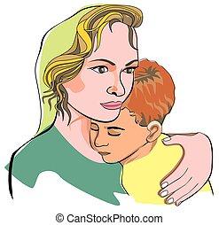 fils, illustration, mère
