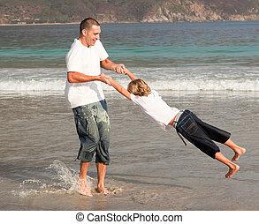 fils, jouer, père, plage