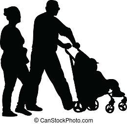 fils, mère, marche, père