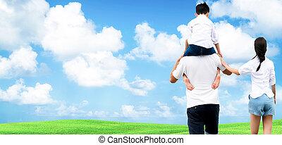 fils, mère, père, épaules., sien, porter