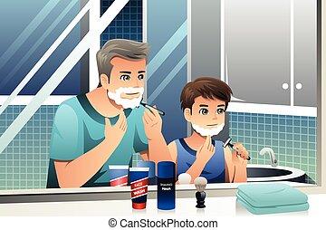 fils, père, ensemble, rasage