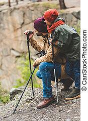 fils, père, ensemble, trekking