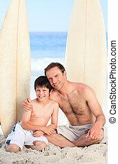 fils, père, leur, planches surf
