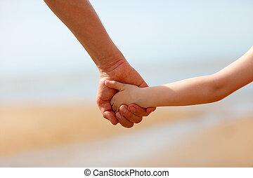 fils, père, mains