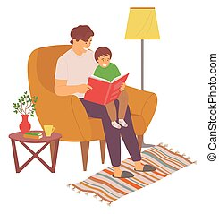 fils, papa, livre, lecture, loisir, famille, vecteur