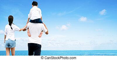 fils portant, sien, mère, père, épaules.